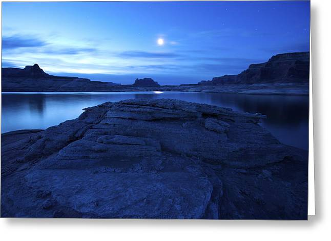 Moonrise Over West Canyon And Lake Greeting Card by Michael Melford