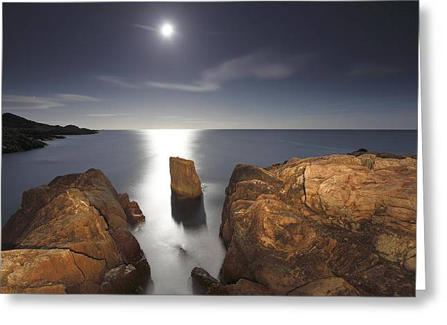 Mysterious Moon Sea Greeting Card by Scott Leslie