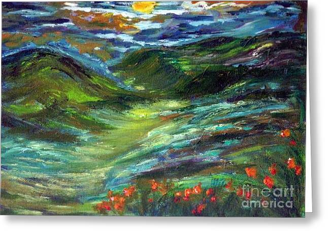 Moonshine Valley Greeting Card by Mary Sedici