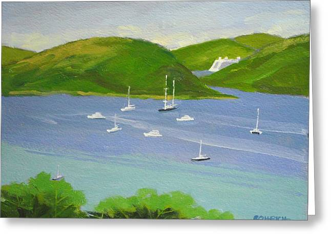 Moored Boats In Charlotte Amalie Bay Greeting Card by Robert Rohrich
