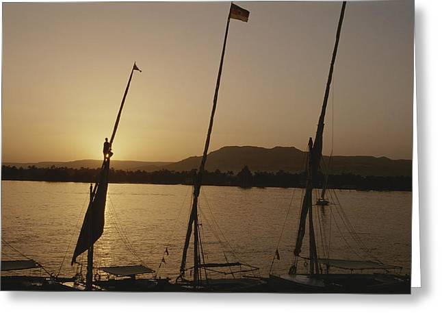 Moored Feluccas On The Nile River Greeting Card by Kenneth Garrett