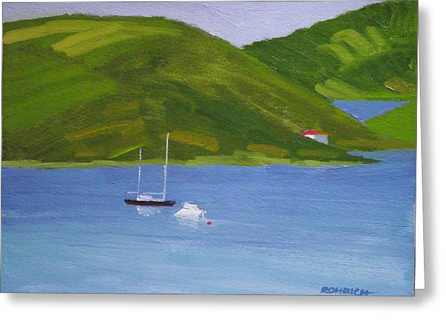 Moored Ketch At Hassel Island Greeting Card by Robert Rohrich