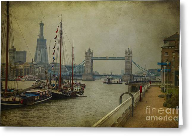 Moored Thames Barges. Greeting Card by Clare Bambers