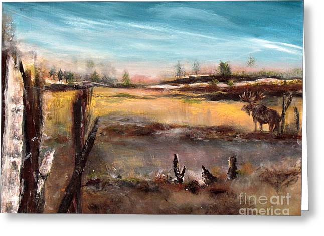 Greeting Card featuring the painting Moose Landscape by France Laliberte