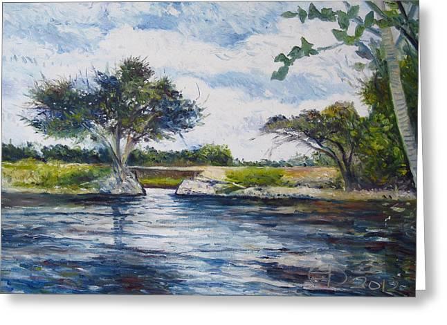 Mopani Bridge Maun Botswana Greeting Card by Enver Larney