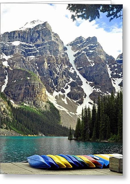 Greeting Card featuring the photograph Moraine Lake by Lisa Phillips