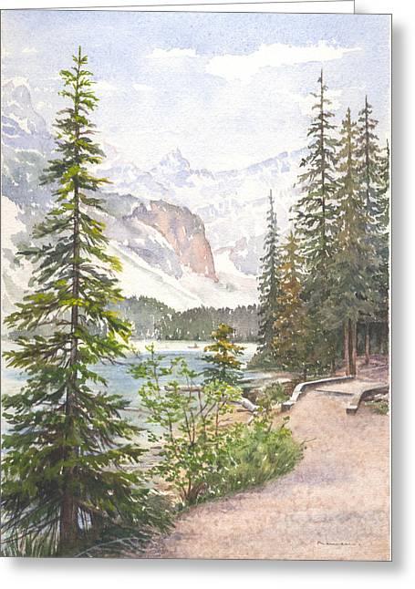 Moraine Lake Greeting Card by Maureen Carter