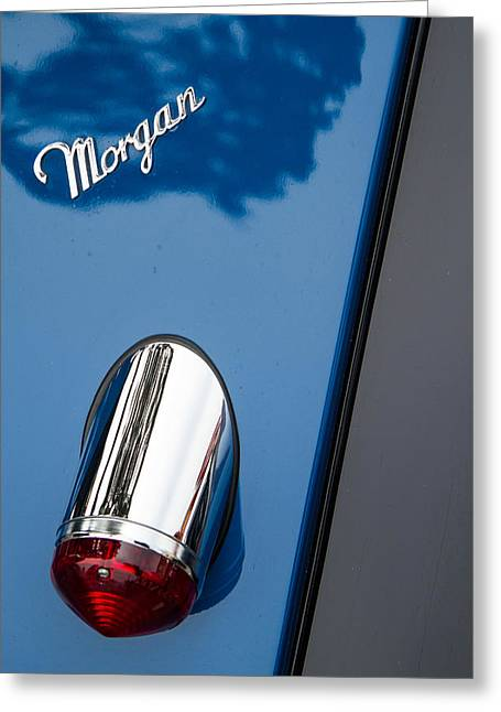 Morgan Plus 8 Taillight And Name Badge Greeting Card by Roger Mullenhour