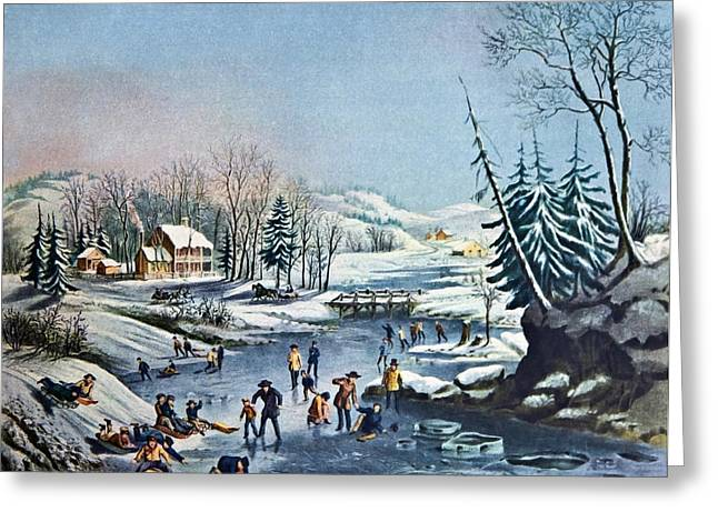 Morning By Currier And Ives Greeting Card by Susan Leggett