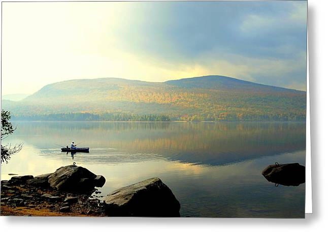Morning Fisherman Greeting Card by Marie Fortin