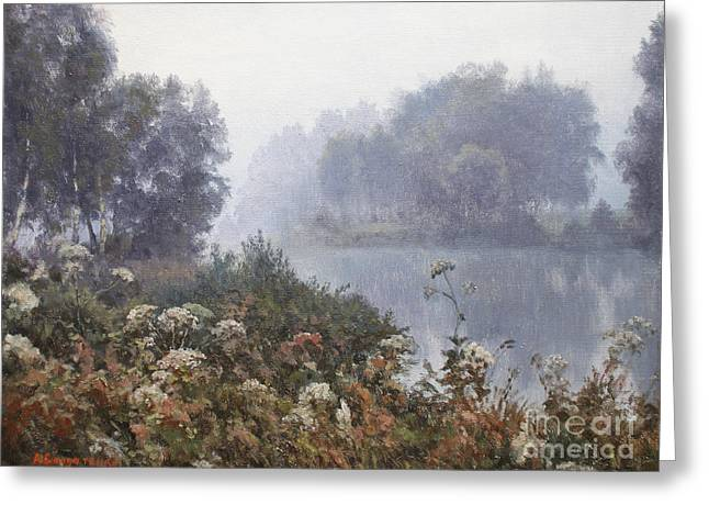 Morning Fog Greeting Card by Andrey Soldatenko