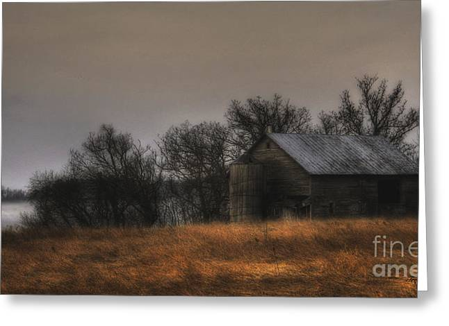 Morning Fog At Jorgens Barn Greeting Card by Trey Foerster