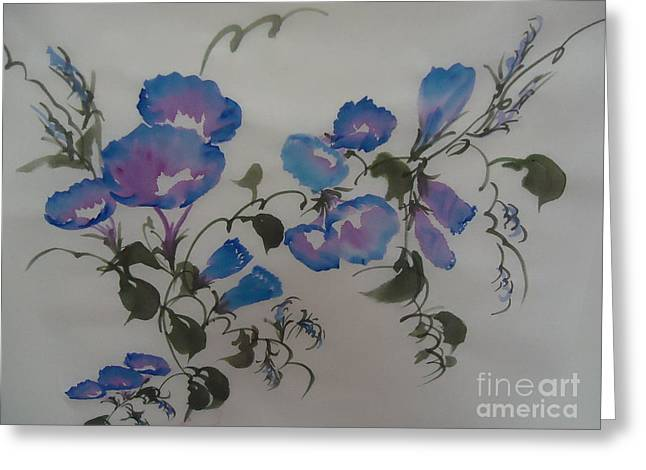 Greeting Card featuring the painting Morning Glory--2011 by Dongling Sun