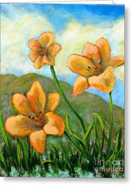 Morning Glow Greeting Card by Laurie Morgan