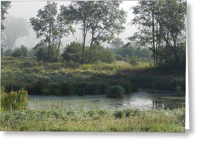 Morning Mist On Marsh Greeting Card by Dennis Leatherman