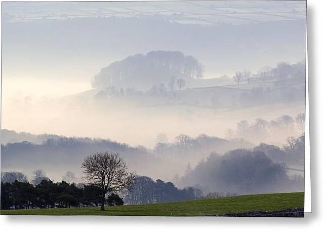 Morning Mist Over Farmland Greeting Card by Duncan Shaw