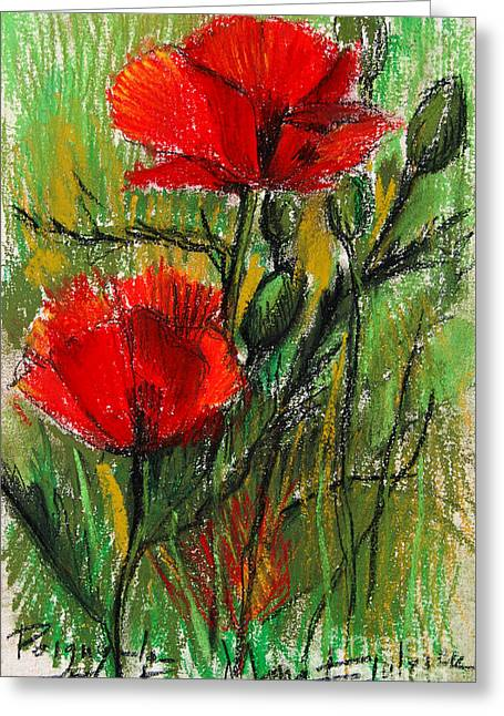 Morning Poppies Greeting Card by Mona Edulesco