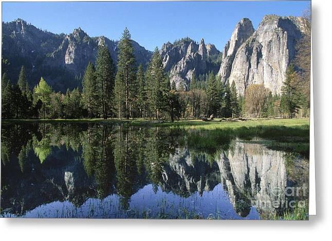Morning Reflection At Yosemite Greeting Card by Sandra Bronstein