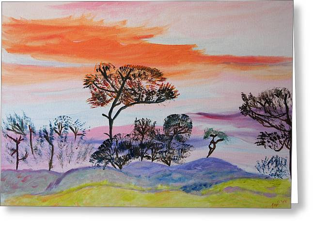 Greeting Card featuring the painting Morning Skies  by Meryl Goudey
