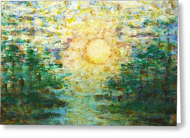 Morning Sun Greeting Card by Andria Alex