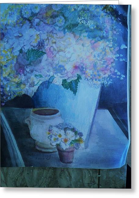 Morning Table With Bouquet And Cups Greeting Card by Anne-Elizabeth Whiteway