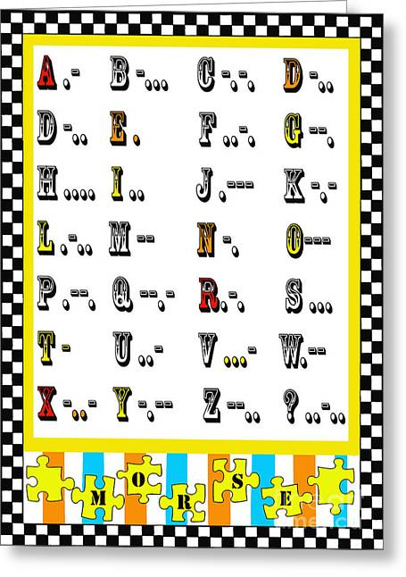 Morse Code Alphabet Juvenile Licensing Greeting Card by Anahi DeCanio