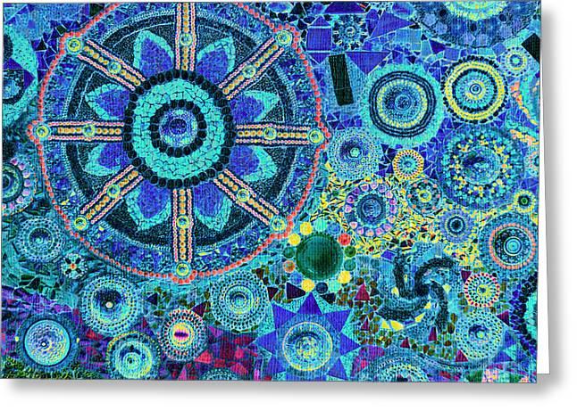 Mosaic Art Design Greeting Card by Bou Lemon