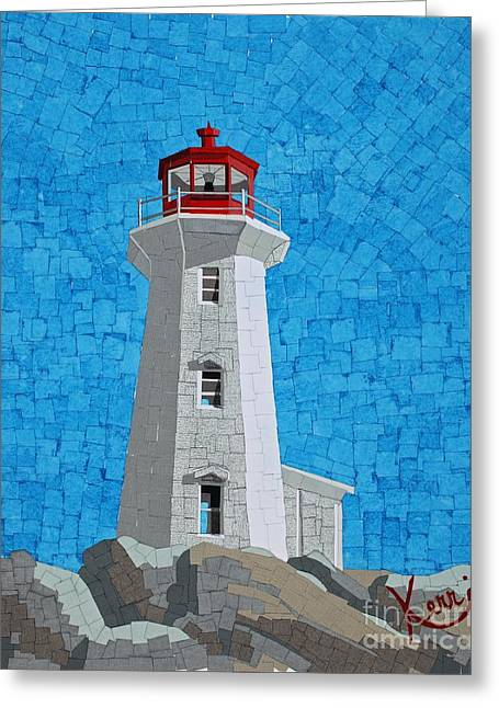 Mosaic Lighthouse Greeting Card by Kerri Ertman