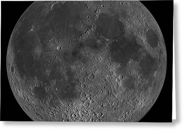 Mosaic Of The Lunar Nearside Greeting Card by Stocktrek Images