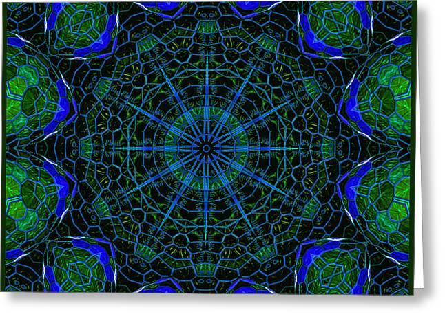 Greeting Card featuring the digital art Mosaicglobe Kaleidoscope by Barbara MacPhail