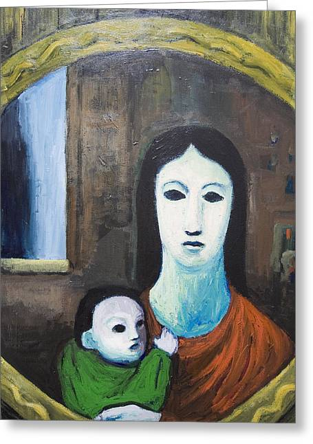 Mother And A Child In The Mirror Greeting Card by Kazuya Akimoto