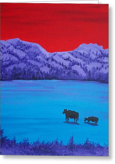 Mother And Calf Greeting Card by Randall Weidner