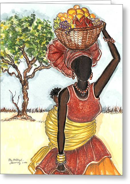 Mother And Child Greeting Card by Kathy-Lou