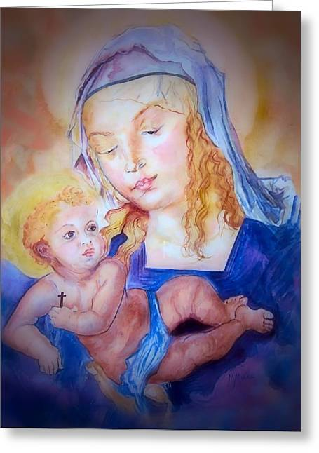 Mother And Child Greeting Card by Myrna Migala