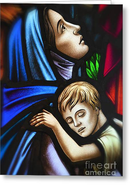 Mother And Child Stained Glass Greeting Card by Verena Matthew