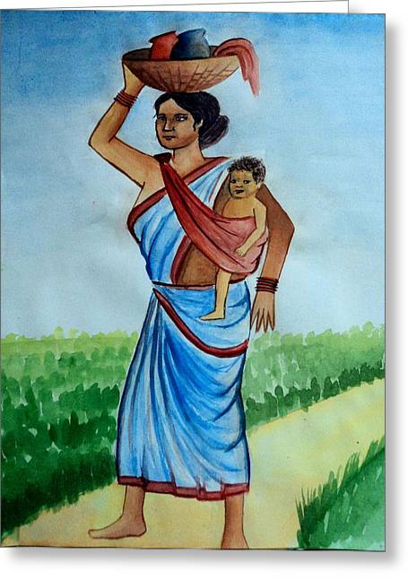 Mother And Child Greeting Card by Tanmay Singh