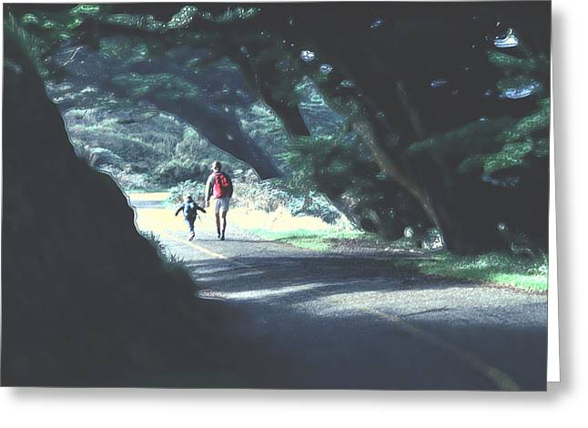 Mother And Child Walking Through Point Reyes Park Greeting Card