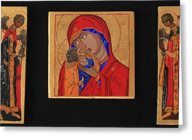 Mother And Child With Archangels Greeting Card by Amy Reisland-Speer