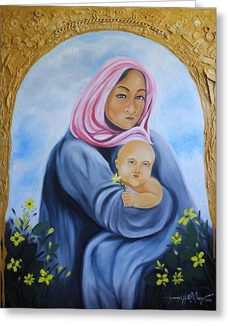 Mother And Child With Yellow Flowers Greeting Card by Johnny Otilano
