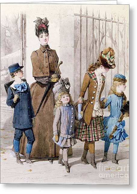 Mother And Children In Walking Dress  Greeting Card