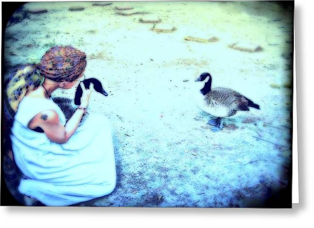 Mother And Geese Greeting Card