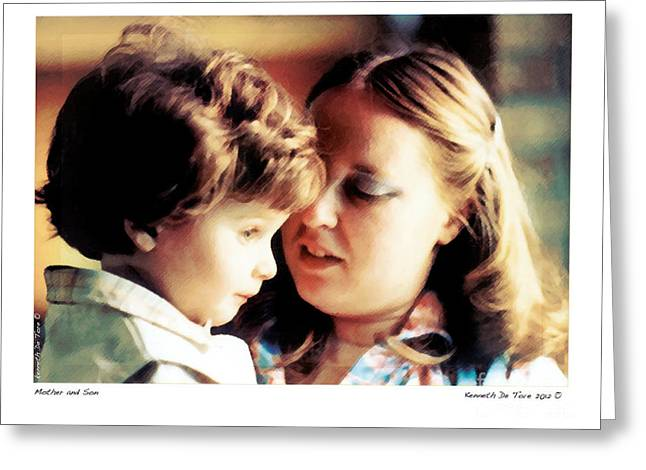 Mother And Son Greeting Card by Kenneth De Tore