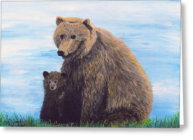 Greeting Card featuring the painting Mother Love  Two by Stuart B Yaeger