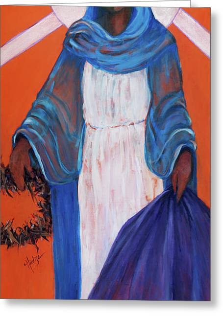 Mother Mary In Sorrow Greeting Card by Mary DuCharme