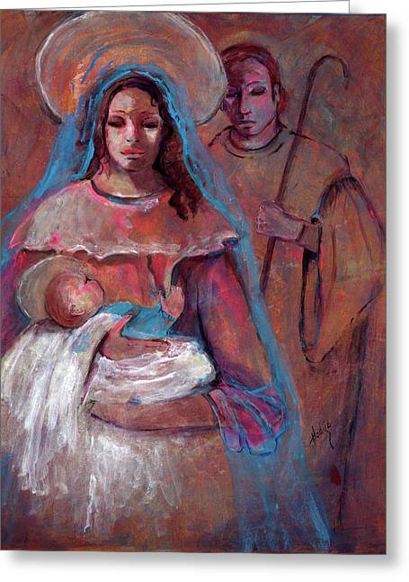 Mother Mary With Joseph And Jesus Baby Greeting Card by Mary DuCharme