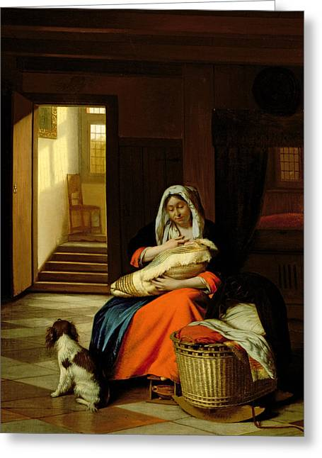 Mother Nursing Her Child Greeting Card by  Pieter de Hooch