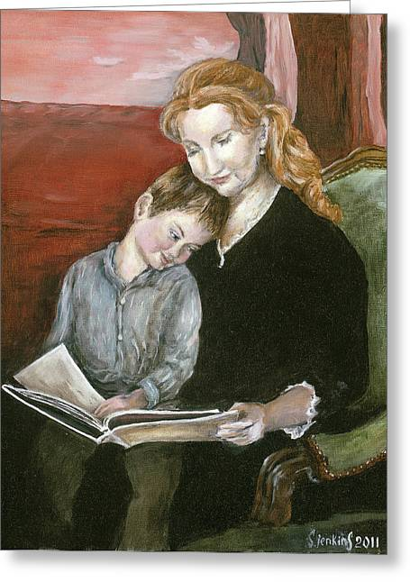 Mother Reading To Son Greeting Card