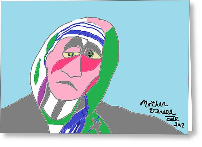 Greeting Card featuring the painting Mother Teresa by Anita Dale Livaditis