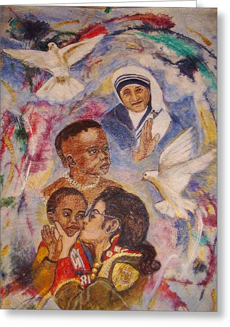 Mother Theresa And Michael Jackson For The Lost Children Greeting Card by Jocelyne Beatrice Ruchonnet