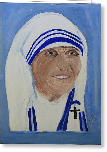 Greeting Card featuring the painting Mother Theresa by Swabby Soileau